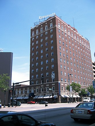 Cedar Rapids, Iowa - The 12-story Roosevelt Hotel was built in 1927 and is on the National Register of Historic Places. It is one of several prospects attracting outside investors to the city.