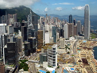 Central, Hong Kong - Admiralty, Central and the Central and Wan Chai Reclamation, view from the east in 2010.