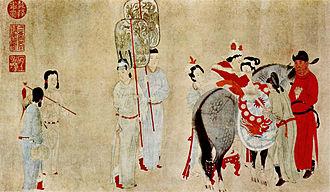 Qian Xuan - Yang Guifei Mounting a Horse, by Qian Xuan (1235-1305 AD).