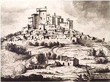 Engraving of a château on a hill