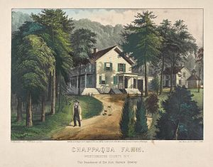Chappaqua, New York - Chappaqua Farm, West Chester County, N.Y., The Residence of Hon. Horace Greeley, Currier & Ives, c. 1870