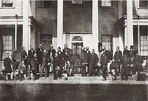 Canadian Confederation - Delegates of the Charlottetown Conference on the steps of Government House, September 1864.