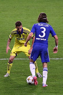 4fd096bf328 Filipe Luís in action for Chelsea against Maribor (2014)