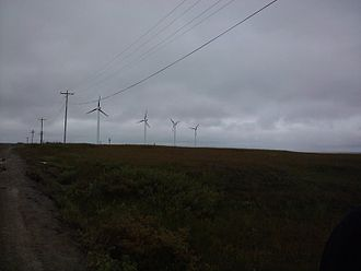 Chevak, Alaska - Wind turbine farm in Chevak.