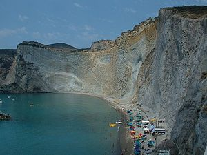 Ponza - The most popular beach at Ponza, Chiaia di Luna.