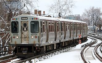 Brown Line (CTA) - A Brown Line train of 3200 series cars.