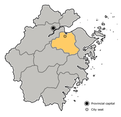 Location of Shaoxing City jurisdiction in Zhejiang