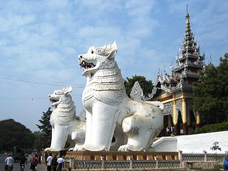 Mandalay Hill - Two giant chinthes guard the southern approach to Mandalay Hill.