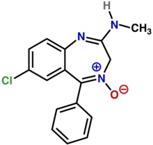 Chemical structure diagram of a benzene ring fused to a diazepine ring. Cl is attached to the benzene; N, H, CH3, and O are attached to the diazepine.