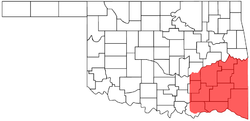 Location of Choctaw Nation of Oklahoma
