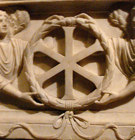 """IX"" (Jesus Christ) monogram from a 4th-century sarcophagus from Constantinople Chrisme Constantinople.jpg"