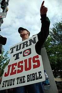 Christian Demonstrator Preaching at Bele Chere 2007.jpg