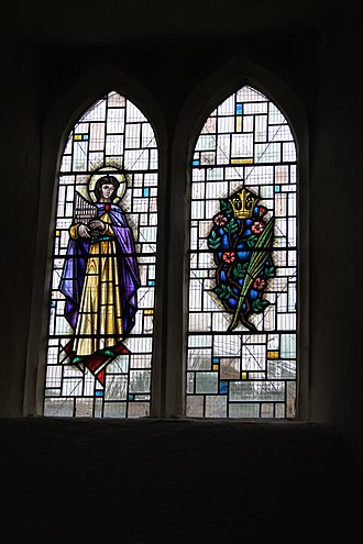 River Chew - Memorial stained glass window in the Church of St Peter, Marksbury to a resident who lost her life when the Pensford Bridge was swept away.