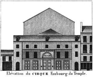 Amphithéâtre Anglais - Image: Cirque Faubourg du Temple Élévation Kaufmann 1837 plate 15 GB Princeton