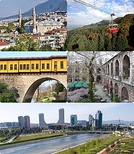 Clockwise from top left: Grand Mosque, Maksem, Irgandı Bridge, Kozahan