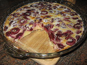 A clafouti with pitted cherries