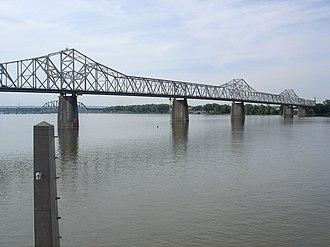 George Rogers Clark Memorial Bridge - The George Rogers Clark Memorial Bridge as seen from Louisville Waterfront Park
