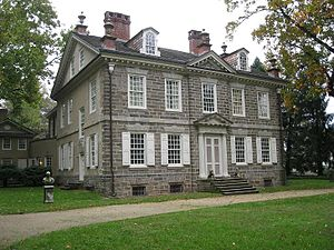 Thomas-Antoine de Mauduit du Plessis - Du Plessis tried to enter one of the ground-floor windows near the servants' entrance on the left side of the Chew House, shown here.