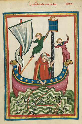 Friedrich von Hausen - Friedrich von Hausen (Codex Manesse, 14th century)