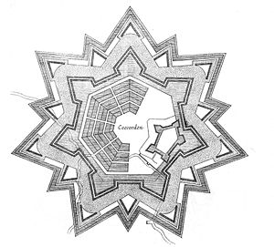 Coevorden - Fortification plan of Coevorden, in Star fort style.