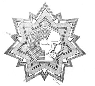 Bastion fort - Fortification plan of Coevorden, laid out in a radial pattern within polygonal fortifications and extensive outer earthworks as reconstructed in the early seventeenth century by Maurice, Prince of Orange