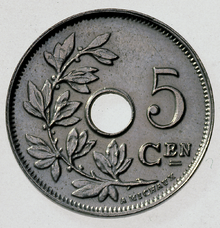 Photo of 5 Centimes Coin with name A. Michaux.