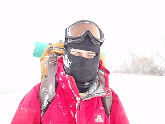 Balaclava (clothing) - Colin Skinner during a snowstorm in North Dakota in 2009