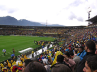 La Selección de fútbol de Colombia contra la Selección de fútbol de Brasil en Bogotá, Colombia