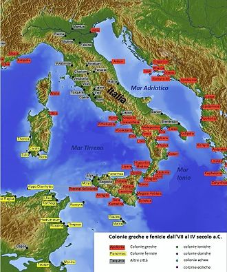 Greek coinage of Italy and Sicily - Location of ancient Greek colonies (names with red labels) in Italy and neighbouring regions