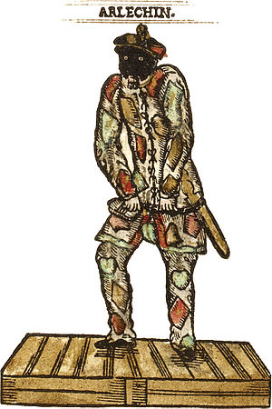 Harlequin - Tristano Martinelli's Harlequin costume as depicted in his Compositions de rhétorique, 1601