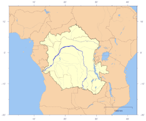 Congo Basin - Course and drainage basin of the Congo River with countries marked