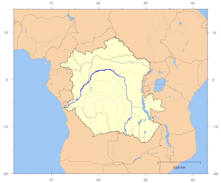 Congo watershed map