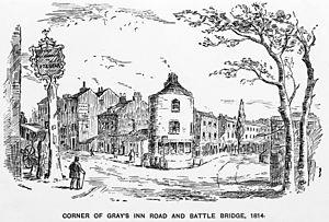 Corner of Gray's Inn Road and Battle Bridge. Wellcome M0012501.jpg