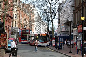 Corporation Street, Birmingham - Buses stopping on Corporation Street as viewed from the junction with New Street in 2007, before Midland Metro tram extension.