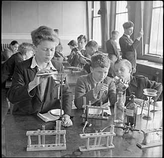 Knights Templar School - Boys carry out a science experiment at Baldock County Council School in 1944