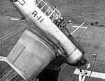 Crashed North American SNJ aboard USS Saipan (CVL-48), circa in 1946.jpg