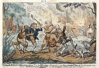 """Hottentot (racial term) - Early 19th-century caricature showing settlers being attacked by cannibal """"Hottentots""""."""