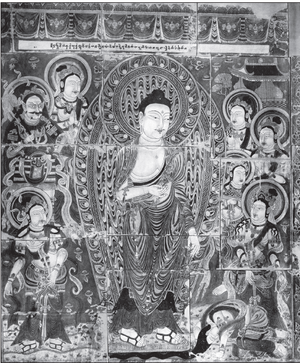 A Buddha, surrounded by several figures, including one (Sumedha) prostrating in front of the Buddha's feet