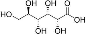 Aldonic acid - Chemical structure of gluconic acid, the aldonic acid derived from glucose.