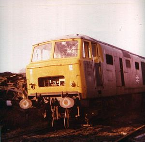 British Rail Class 35 - D7022, a British Rail Class 35 locomotive, in a scrapyard at the end of its life