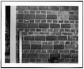 DETAILED VIEW OF UNUSUAL BRICK COURSING ON ROOT CELLAR WALL, WITH SCALE - Mitchell House, Pleasant Hill, Lane County, OR HABS ORE,20-PLEHI.V-1-3.tif