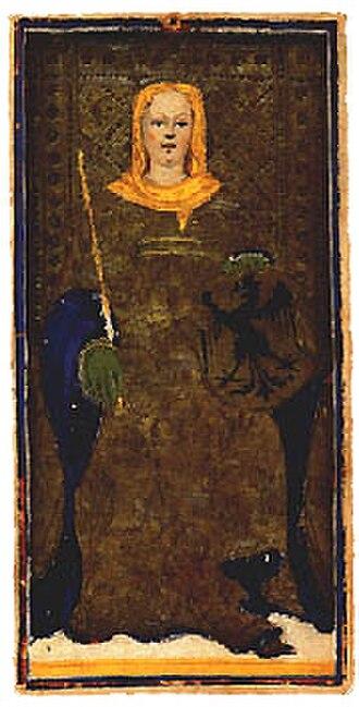 Visconti-Sforza tarot deck - Image: Dama di spade