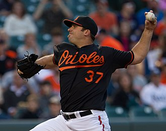 Dana Eveland - Eveland pitching for the Baltimore Orioles in 2012