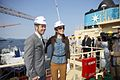 Danish royal couple cut steel in Korea for the first Triple-E vessel (7226937186).jpg