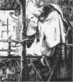 Dante Gabriel Rossetti Sir Galahad at the Ruined Chapel 1855.png