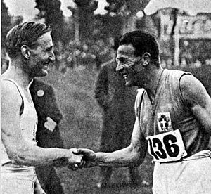 Luigi Facelli - Lord Burghley (left) shakes hands with his Italian rival Facelli
