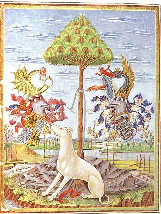 Biblioteca Estense - Codex De Sphaera - 1469 Allegory of Este and Sforza (the snake) families Coat of Arms