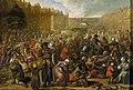 De uitdeling van haring en wittebrood na de opheffing van het beleg van Leiden, 3 oktober 1574 Rijksmuseum SK-A-3911.jpeg