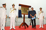 Defence Minister Manohar Parrikar unveiling the plaque at the Induction Ceremony of P8I Boeing aircraft squadron at INS Rajali, Arakkonam.jpg