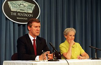 Nancy Kassebaum - Secretary of Defense William S. Cohen and Nancy Kassebaum answer a reporter's question during a joint press briefing in 1997.
